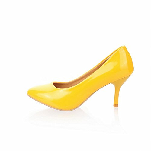 Latasa Womens Charm High -Heel Stiletto Pointed-toe Dress Shoes Yellow iyWe9e