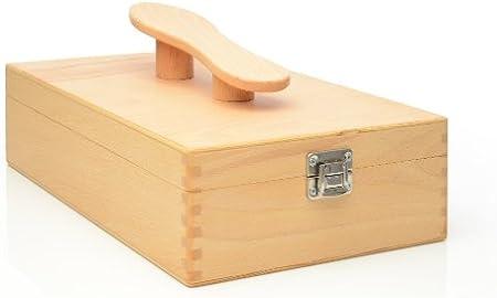 Caja limpieza zapatos con tapa y zapato de mango, caja de madera A. haya: Amazon.es: Hogar