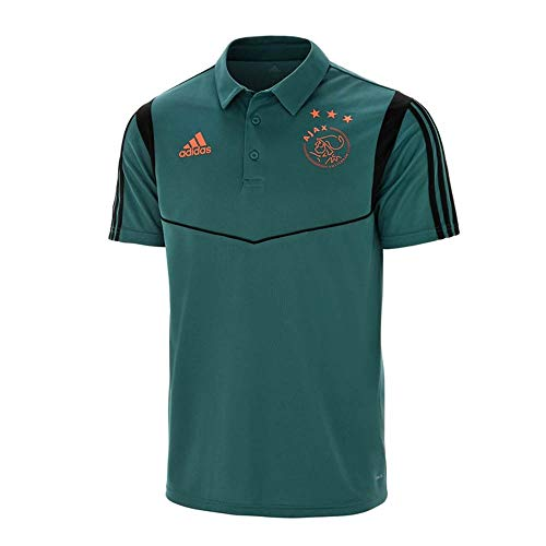 adidas 2019-2020 Ajax Polo Football Soccer T-Shirt Jersey (Tech Green)