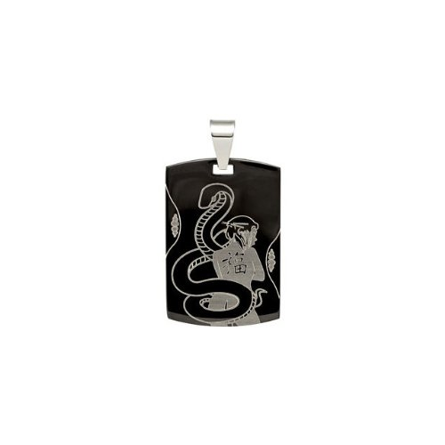 Price comparison product image IceCrave Women's Black Immersion Plated Stainless Steel Dog Tag Pendant