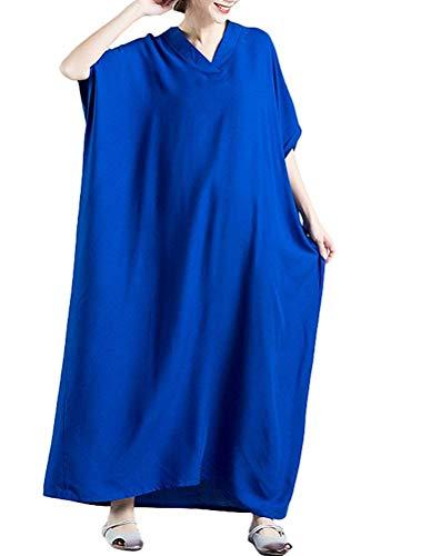 Con Estivo Ballo Tinta Da Donna Abiti Sera Abito V Oversize Festa Lunghi Blau Festive A Scollo Elegante Abbigliamento Allentato Moda Unita Maxi 54AL3Rj