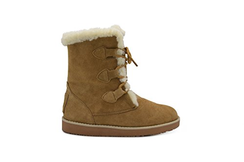 Aussie Candace Winter Hiker Resistant Fur Lined Cold Boot Tall Chestnut Weather Merino Wool Mid Boot Water Calf RrRfq