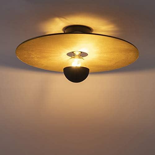 QAZQA Modern Plafondlamp zwart platte kap geel 45 cm Combi