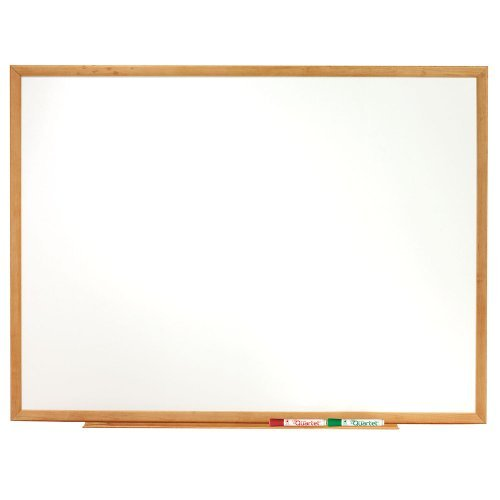 Quartet Standard Whiteboard, 6 x 4 Feet, Oak Frame (S577) by Boone International