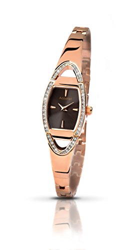 Accurist Ladies Brown Dial Analogue Display Watch With Rose Gold Stainless Steel Bracelet LB1457