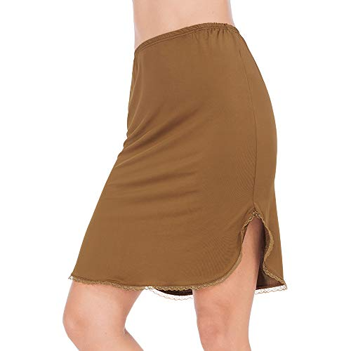 MANCYFIT Half Slips for Women Underskirt Short Mini Skirt with Floral Lace Trim Dark Brown Large (Trim Floral Lace)