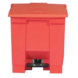 Bunzl Distribution Midcentral 17700054 Rubbermaid 6143 Step-On Waste Container, 8  gal, Red by Bunzl Distribution Midcentral