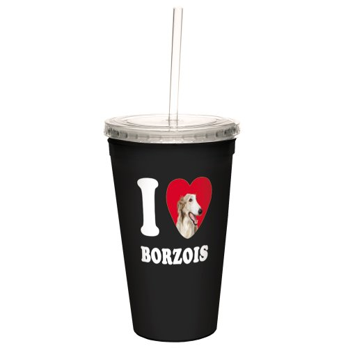 Borzoi Mug (Tree-Free Greetings CC35015 I Heart Borzois Artful Traveler Double-Walled Cool Cup with Reusable Straw, 16-Ounce)