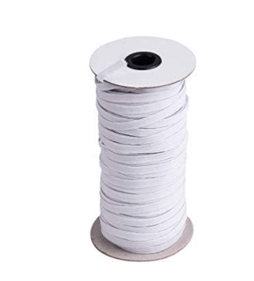 Braided Elastic Cord//Elastic Band//Elastic RopeBungee//Heavy Stretch Knit Elastic Spool 1//4 Wide 70 Yards Length White