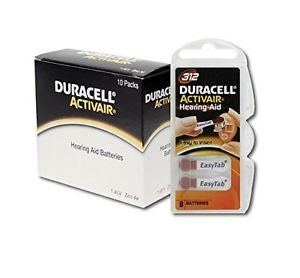 Duracell Activair Hearing Aid Batteries Size 312 (80 Batteries), Brown