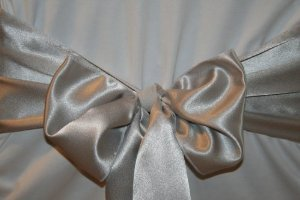 Silver Satin Wedding Chair Sash Bows  by Summerfield