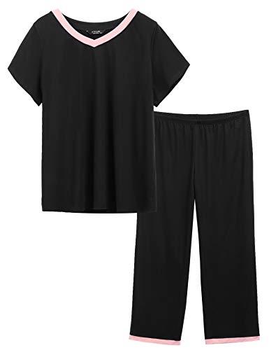 Womens Plus Size Pajamas V-Neck Sleepwear Short Sleeves Top with Pants Pajama Sets