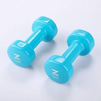 Gemeinsa Mancuernas de Hierro Fundido con Revestimiento de Vinilo para Entrenamiento Muscular Fitness Musculación Juego de 2 PCS (Azul 3kg): Amazon.es: ...