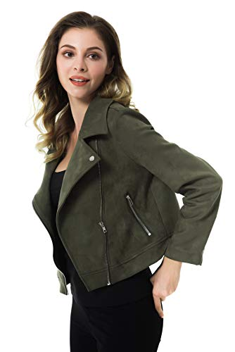 Apperloth Faux Suede Jackets for Women Long Sleeve Zipper Short Moto Biker Coat