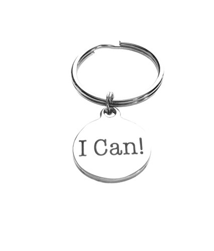 I Can! Stainless Steel Circle Charm Keychain, Luggage Inspirational Gift by Heart Projects