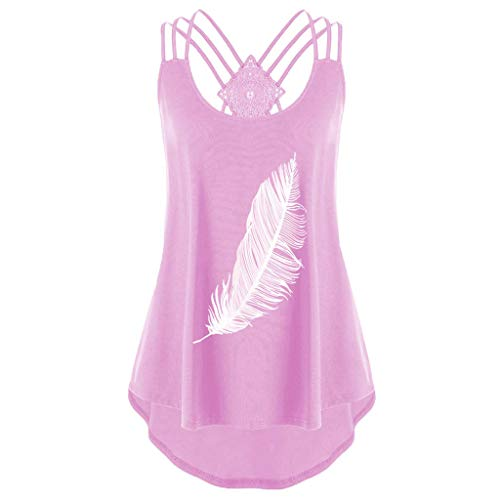 Lovor Women's Criss Cross Bandage Sunflower Print Sleeveless Racerback Bandages Vest Top Strappy Cami Tank Tops(Pink2,M) ()