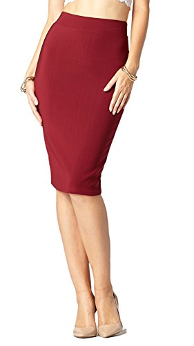 Premium Stretch Pencil Skirt for Women with Slit - Pull On Elastic Waistband - Bodycon Midi Skirts - Burgundy - Small