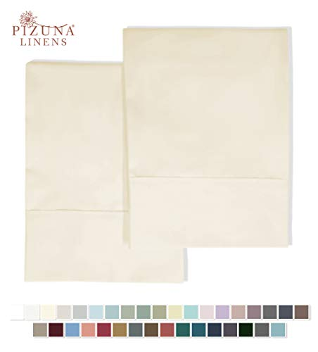 Pizuna 400 Thread Count Cotton Standard Pillowcases Cream 100% Long Staple Pure Cotton Sateen Pillowcase with Stylish 4 inch Hem, Set of 2 Pillow Covers (Cream Standard 100% Cotton Pillow Cases)