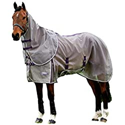 "Weatherbeeta Comfitec Ripshield Plus with Belly Wrap Detach A Neck, Grey/Purple, 81"""
