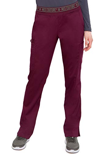 Med Couture Touch Women's Yoga 2 Cargo Pocket Scrub Pant, Wine, X-Large Cargo Pocket Scrub Pants Wine