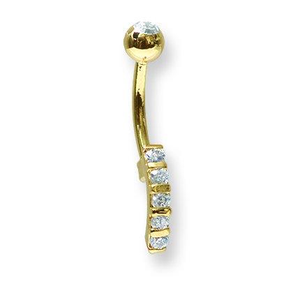 1.6mm 11mm long Curv BB w 5mm clear gem top ball Jewelry by Sweet Pea SGSS 2 Tone Curv BB 14G