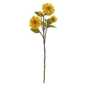 Zinnia Artificial (Set of 6) Silk Flowers, Yellow 26
