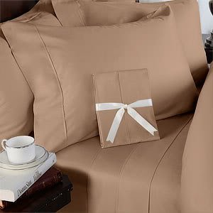 - 1500 Thread Count Egyptian Cotton Sheet Set, DEEP POCKET, 1500TC, Queen, Solid Taupe