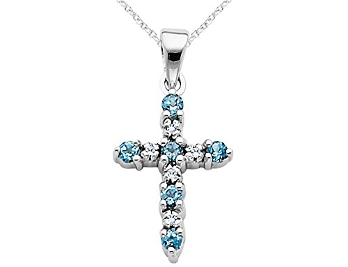 Blue Topaz Cross Pendant Necklace with Diamonds 1/4 Carat (ctw) in 14K White Gold with Chain