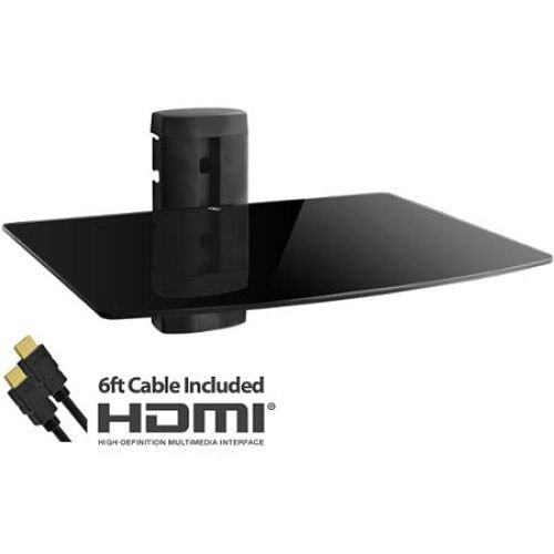 Adjustable Shelf for DVD Player, Cable Box/Receiver and Gaming Consoles with HDMI Cable, UL Certified (Dvd Player Console)