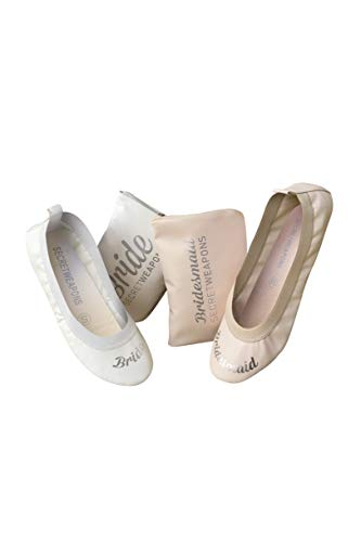 White Bride & Bridesmaid Fold Up Ballet Flats-Foldable Bridal Wedding Party Shoes with Bride & Bridesmaid Print-Cute Purse unfolds into a Tote Carry Bag