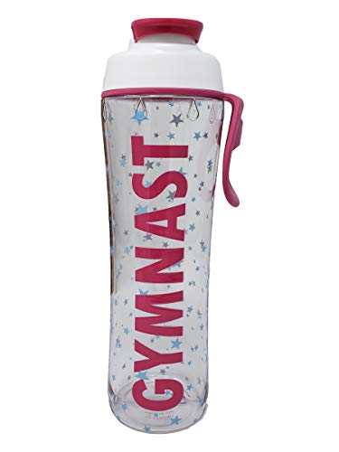 50 Strong BPA Free Reusable Cheer Dance Ballet Gymnast Water Bottle for Girls - 24 30 oz. Clear with Cheerleading Dancer Gymnastics Print - Gift for Cheerleaders, Dancers & Gymnasts (Gymnast, 24 oz.)