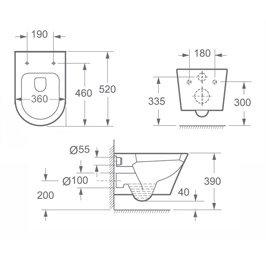 Toilette maße  Design Toilette Aachen108, aus Keramik, mit SilentClose ...