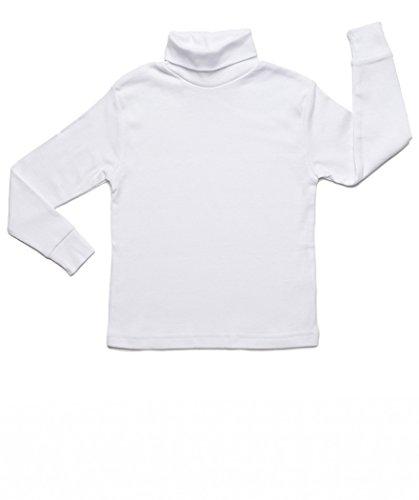 Leveret Girls Boys & Toddler Solid Turtleneck 100% Cotton Kids Shirt (Size 7 Years, White)
