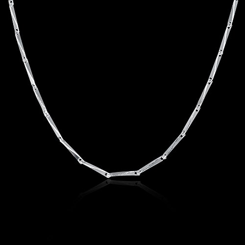 COCOBAR Sterling Silver 0.5mm-1mm Chain Necklace -Several styles (16, Bamboo chain) by COCOBAR (Image #1)