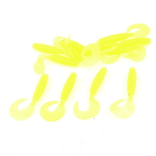 12 Pcs Angler Worm de Appâts de pêche Conception silicone jaune poisson Mouche