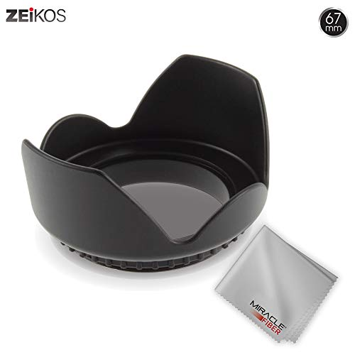 Zeikos 67MM Tulip Flower Lens Hood for Nikon, Canon, Sony, Sigma and Tamron Lenses, Comes with a Miracle Fiber Microfiber Cloth