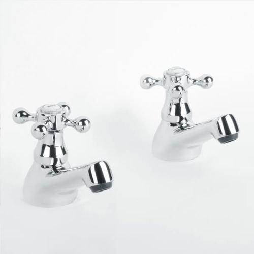 Coppia di rubinetti tradizionali da appoggio, da bagno, per vasca o lavandino, per acqua calda e fredda a bassa pressione Atorre