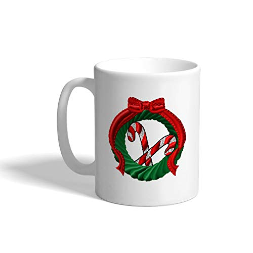 Ceramic Funny Coffee Mug Coffee Cup Wreath & Candy Cane White Tea Cup 11 Ounces