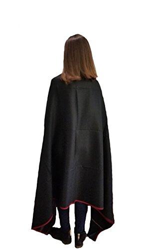 Buddha Blanket, Tibetan Meditation Shawl, Indian Yoga Blanket, Oversize Scarf, Wool Wrap, Spiritual Gifts, Unisex (Extra Large 8' x 4') (Black)