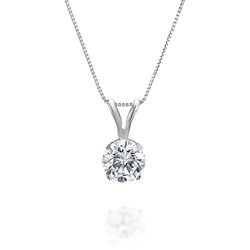 1/4ct tw Diamond Solitaire Pendant in 14k White Gold