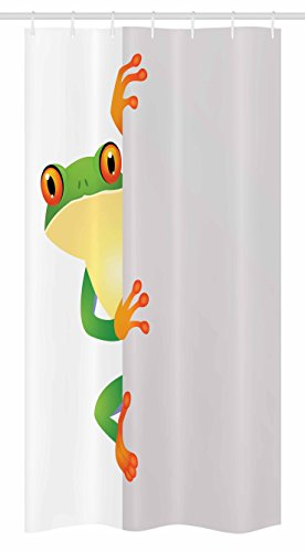 "Ambesonne Reptile Stall Shower Curtain, Funky Frog Prince with Big Eyes on Wall Camouflage Nursery Reptiles Theme, Fabric Bathroom Decor Set with Hooks, 36"" X 72"", Green Yellow Orange"
