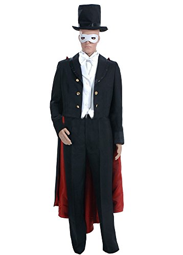 Sailor Moon Costume Tuxedo Mask (Ice Dream Mens Magician Suit Tuxedo Mask Cosplay Costume Full Set)