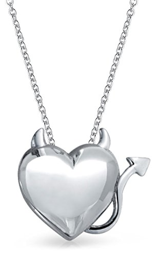Devil Horns Heart Shape Slide Pendant Necklace For Women For Girlfriend Polished 925 Sterling Silver Necklace 16 Inches ()