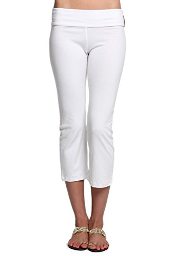TheMogan Women's Fold Over Stretchy Crop Yoga Workout Pants White S