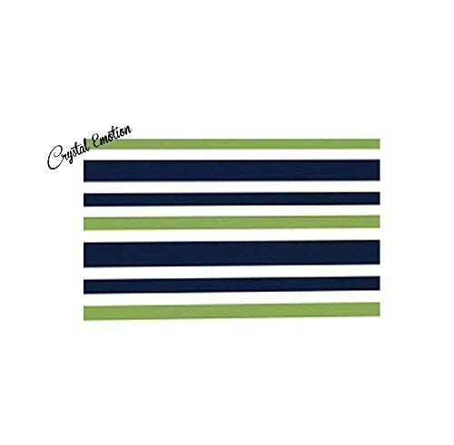 Yaoni Navy Blue, Lime Green and White Kids Bathroom Fabric Bath Stripes (Bright Lime Modern Kids Rug)