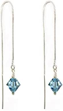 Threader earrings Made with Swarovski Crystal Elements. Aquamarine Colored. Sterling Silver