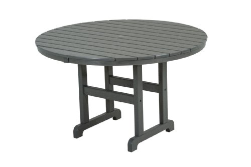 "POLYWOOD RT248GY Round Dining Table, 48-Inch, Slate Grey - Spacious 48"" dining table comfortably seats four and is made with fade-resistant POLYWOOD recycled lumber POLYWOOD recycled HDPE lumber has the look of painted wood without the upkeep real wood requires; requires no painting, staining or waterproofing Heavy-duty construction withstands nature's elements and is resistant to stains, insects, fungi and salt spray - patio-tables, patio-furniture, patio - 31owNbO53aL -"