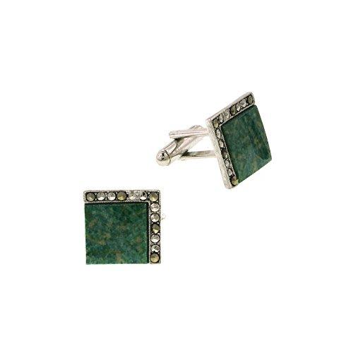 1928 Jewelry Unisex Silver Tone Green Jade Square Cuff Links ()