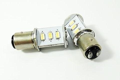 LEDIN 1157 SAMSUNG 12 SMD LED Tail Light Bulb 2357 7528 BAY15d White 7000K (71 Chevelle Led Tail Lights)