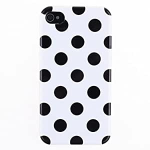 JJE Bargain Price Colorful Round Dots Pattern IMD Back Case for iPhone 4/4S(Assorted Colors) , Fuchsia and Black